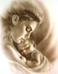 мама с ребенком рисунок